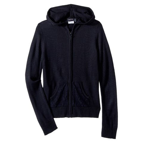 Nautica Blue Navy Girls Size XL (16) Zip-Front Hooded Lace Sweater