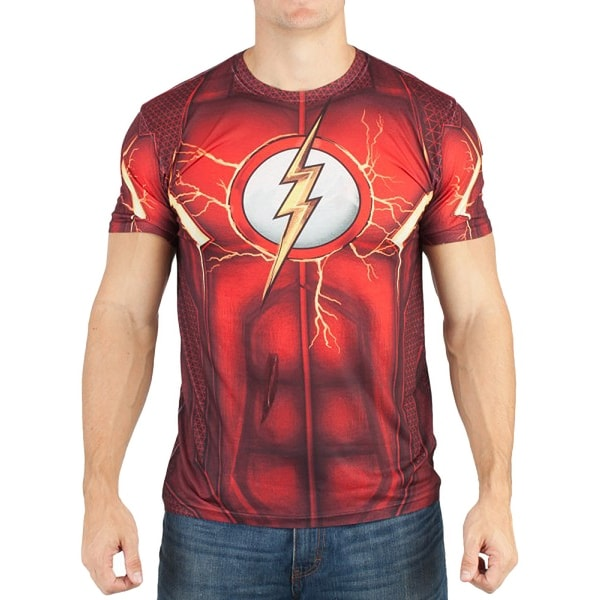 DC Comics Mens Flash Suit Up Sublimated Costume T-shirt