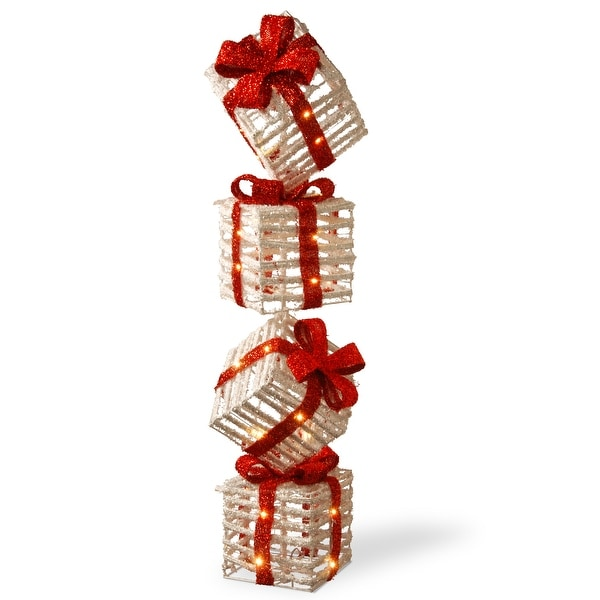 "Pre-Lit 33"" Sisal Gift Box Tower. Opens flyout."