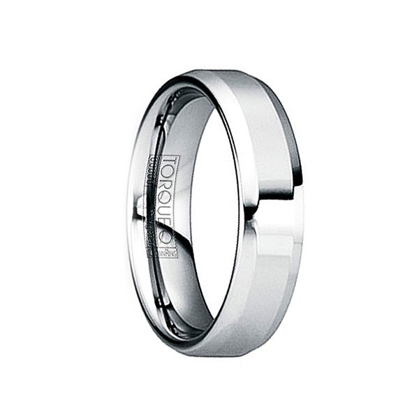 IULIANUS Polished Tungsten Comfort Fit Ring with Beveled Edges by Crown Ring - 6mm
