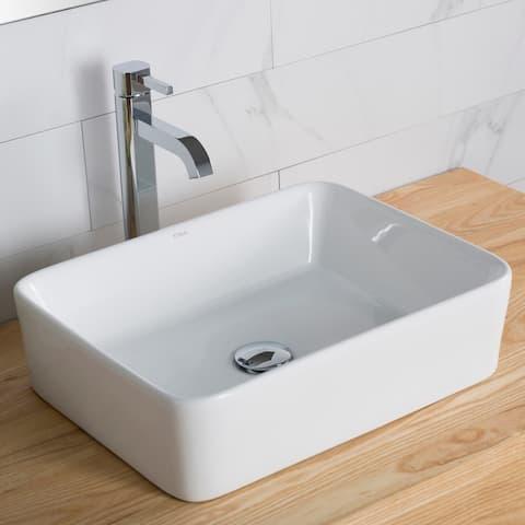 Kraus 3-in-1 Set White Rectangle Ceramic Sink, Ramus Faucet w/Drain