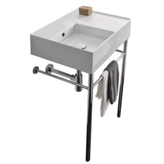 """Scarabeo Teorema 2.0 24"""" Ceramic Bathroom Sink for Console Installation - Includes Overflow"""