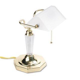 Executive Incandescent Banker s Lamp Glass Shade Brass Base