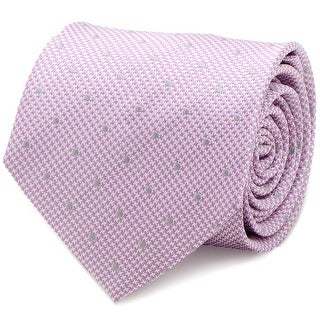 Dotted Herringbone Pink Silk Tie - One Size Fits most