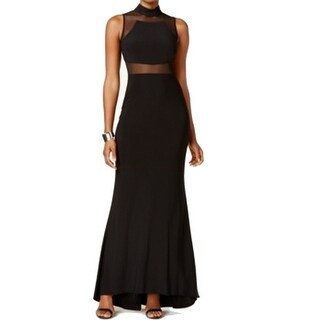 Nightway NEW Black Womens Size 8P Petite Mock Neck Mesh Panel Gown