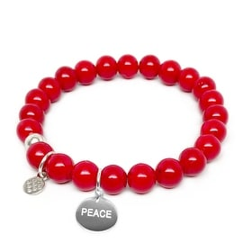Lucy Red Jade Peace Charm Stretch Bracelet, Sterling Silver
