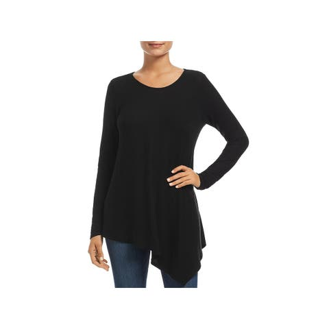 Three Dots Womens Pullover Top Asymmetric Wide Neck