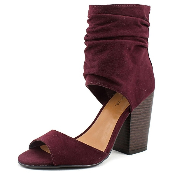 Indigo Rd. Ivana Women Open-Toe Canvas Burgundy Heels
