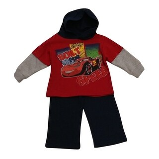 American Character Baby Boys Red Cars Hooded Top Fleece 2 Pc Pant Set