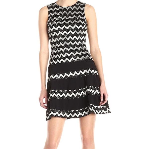 ba3ed6c4 Betsy & Adam NEW Black Silver Womens Size 8 Chevron Sheath Dress