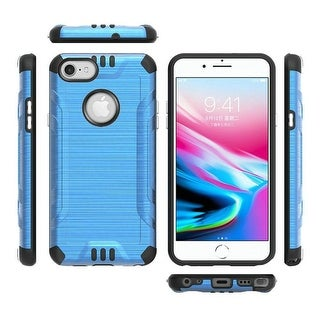 For Apple iPhone 7/8/SE (2020) Blue Combat Metallic Hard TPU Hybrid Case Cover