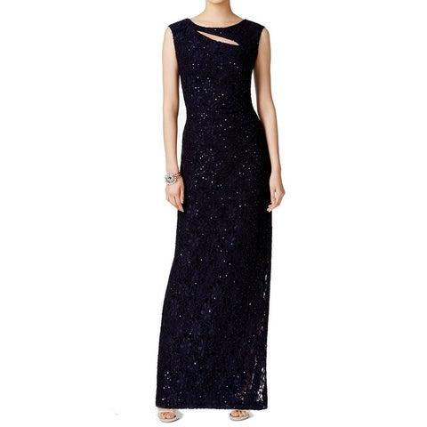 Connected Apparel Blue Women's Size 14 Cutout Sequined Lace Gown