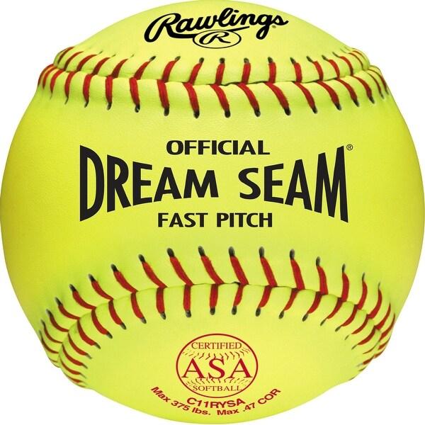 """Rawlings 11"""" ASA Pro Tac Dream Seam Fastpitch Softball (DZ) Optic Yellow 11"""