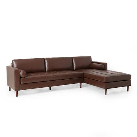 "Malinta Contemporary Tufted Upholstered Chaise Sectional by Christopher Knight Home - 109.50"" L x 70.75"" W x 33.50"" H"