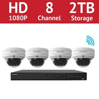 LaView 8 Channel 1080p Wi-Fi IP NVR with (4) 1080p Wi-fi Dome Cameras and a 2TB HDD