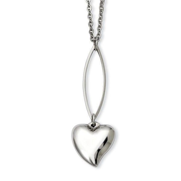 Stainless Steel Polished Heart Y 18in Necklace (1 mm) - 18 in