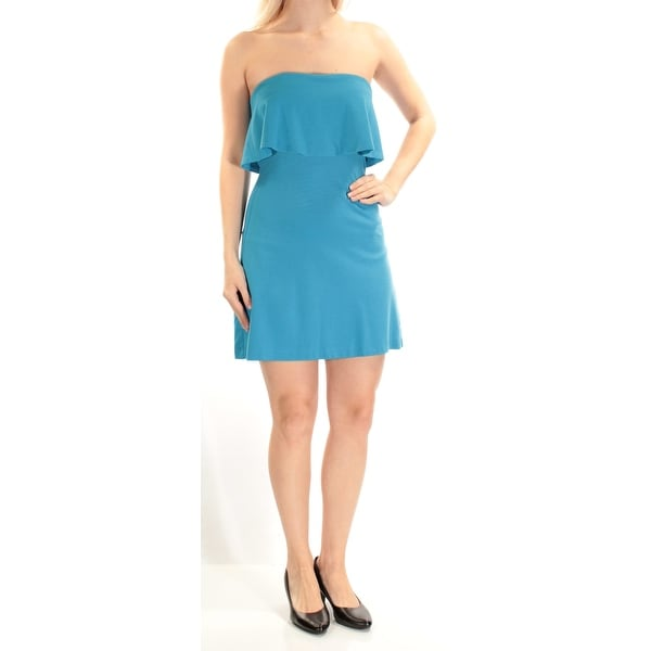 Shop iN AWE Womens Blue Sleeveless Strapless Mini Shift Dress Size  S - Free  Shipping On Orders Over  45 - Overstock.com - 21240016 2b18d85b84e3