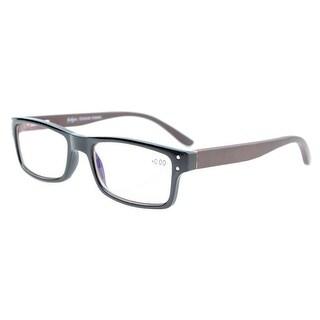 Eyekepper Readers Spring Hinges Wood Arms Unisex Reading Glasses Amber Tinted Lenses Black +2.5