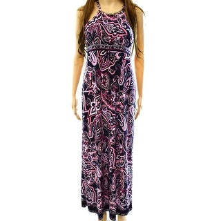 INC NEW Blue Women's Size Small S Paisley Empire Waist Maxi Dress