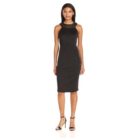 Jessica Simpson Embroidered Halter Sheath Dress Black