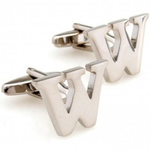 Letter W Alphabet Initial Cufflinks