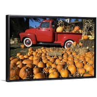 Floating Frame Premium Canvas with Black Frame entitled Pumpkin farm with a red pickup truck in Peconic, New York - Multi-color
