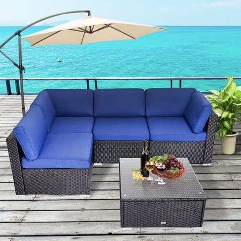 Kinsunny 5-Piece Outdoor Sectional Sofa, Patio Furniture Outdoor Conversation Set with Cushions, All-Weather Rattan Wicker Sofa