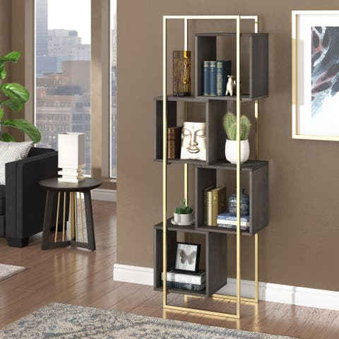 Rosina Antique Gold and Reclaimed Wood Bookcase by iNSPIRE Q Bold
