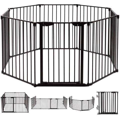 Costway 8 Panel Metal Gate Baby Pet Fence Safe Playpen Barrier Wall-mount Multifunction