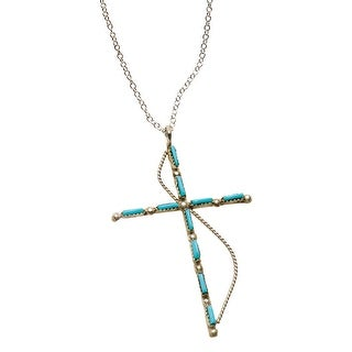 Women's Zuni Cross Necklace - Turquoise & Sterling Silver Crucifix - Blue