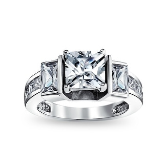 Link to 3CT Square Princess Cut 3 Stone CZ Engagement Ring 925 Sterling Silver Similar Items in Rings