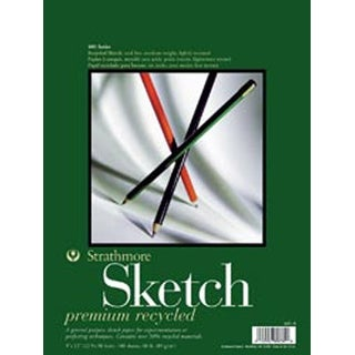 "100 Sheets - Strathmore Recycled Sketch Spiral Paper Pad 9""X12"""