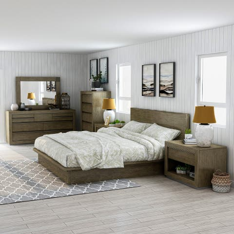 Furniture of America Puly Walnut Solid Wood 6-piece Bedroom Set