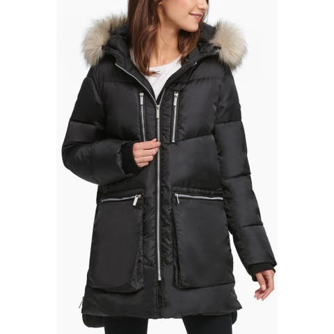 DKNY Womens Tita Parka Coat Winter Hooded
