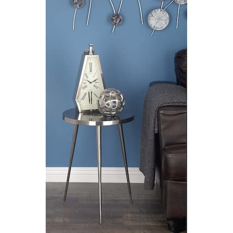 Contemporary 22 x 16 Inch Round Aluminum Accent Table by Studio 350