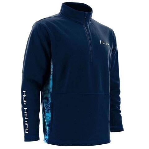 Huk Men's Fleece Medium 1/4 Zip Navy Sweater