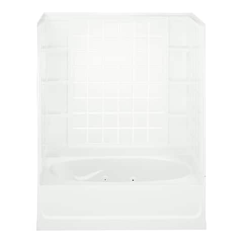 """Sterling 76110120 Ensemble 60"""" x 43-1/2"""" Vikrell Whirlpool Bathtub for Alcove Installations with Right Drain and Wall Surround"""