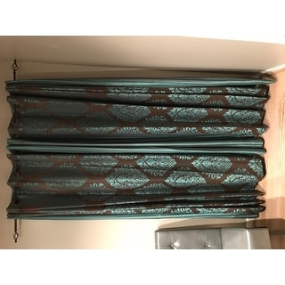 Aurora Home Wide Width Damask Jacquard Grommet 84-inch Curtain Panel Pair - 90 x 84