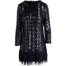 Juicy Couture Black Label Womens Chevron Sequin Party Dress