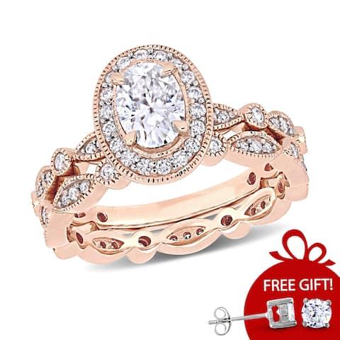 Miadora 1 1/2ct DEW Oval-cut Moissanite Halo Vintage Bridal Ring Set in 10k Rose Gold