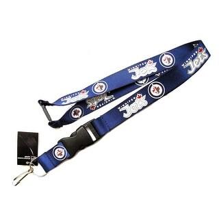 Winnipeg Jets Clip Lanyard Keychain Id Holder - Blue