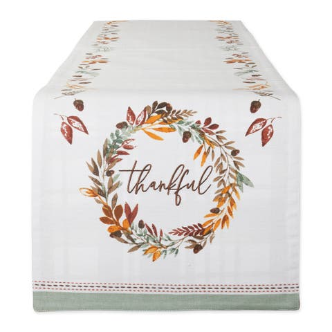 """14"""" x 108"""" White and Brown Thanksgiving Reversible Table Runner"""