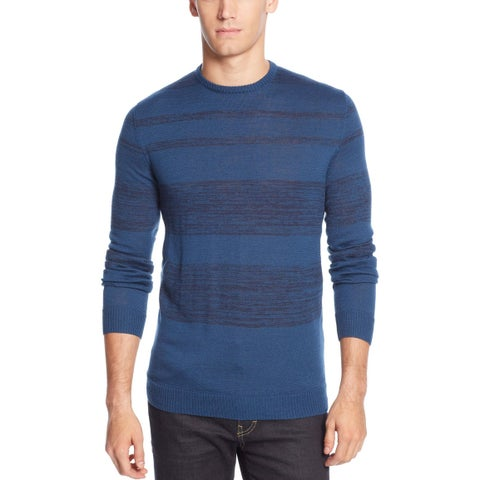 CALVIN KLEIN Merino Wool-Blend Striped Crew-Neck Sweater X-Large Deep Royal $89