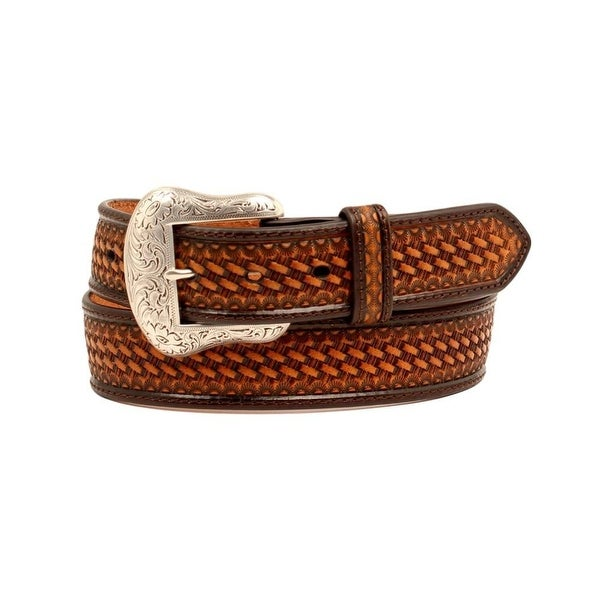 Nocona Western Belt Mens Basket Weave Conchos Lacing