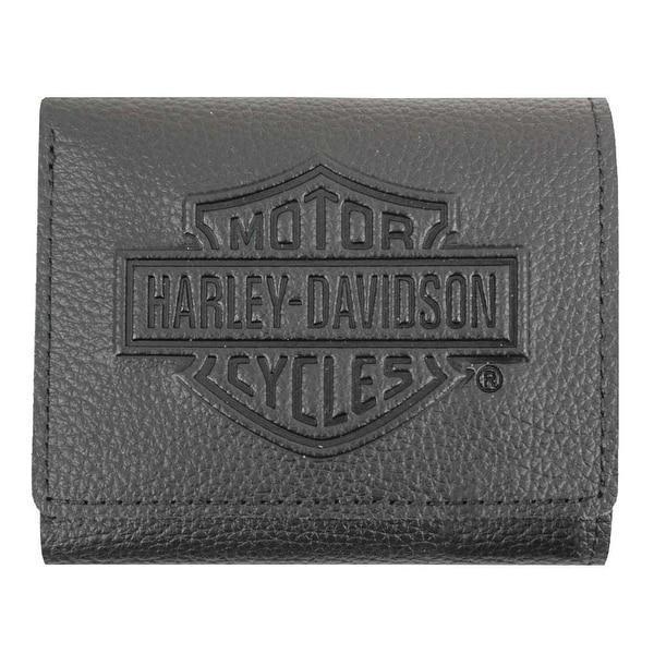 "Harley-Davidson Men's Embossed B&S Logo Leather Tri-Fold Wallet XML3571-BLK - 4"" x 3.5"""