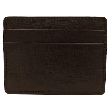 Brioni Brown Grained Card Case