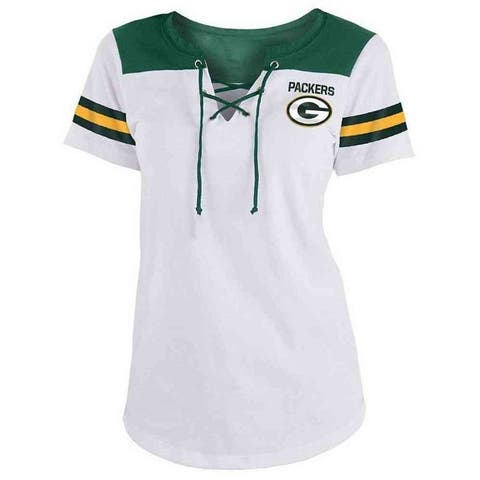 New Era Womens NFL Green Bay Packers Lace-Up Tee T-Shirt Stripe Sleeve C40061L