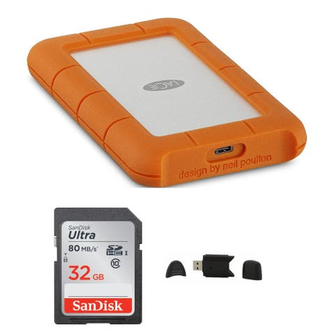 LaCie Rugged USB-C 4TB Portable External HDD with 32GB Card Bundle