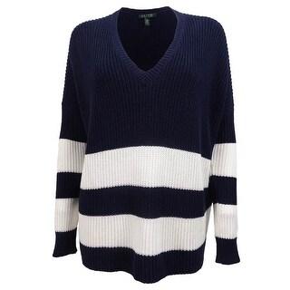 Ralph Lauren Women's V-Neck Striped Overstized Sweater - capri navy/white