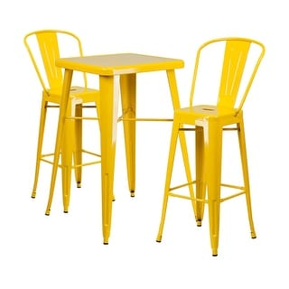 Offex Yellow Metal Indoor-Outdoor Bar Table Set With 2 Barstools